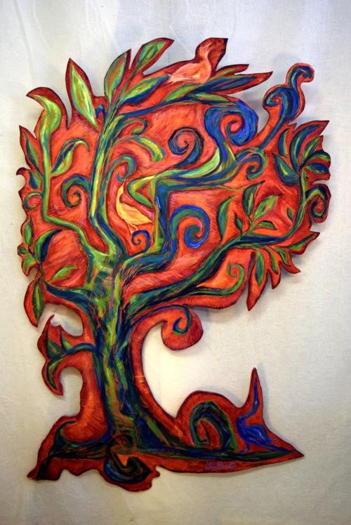 Rode Levensboom met vogels - Mary Velthoen