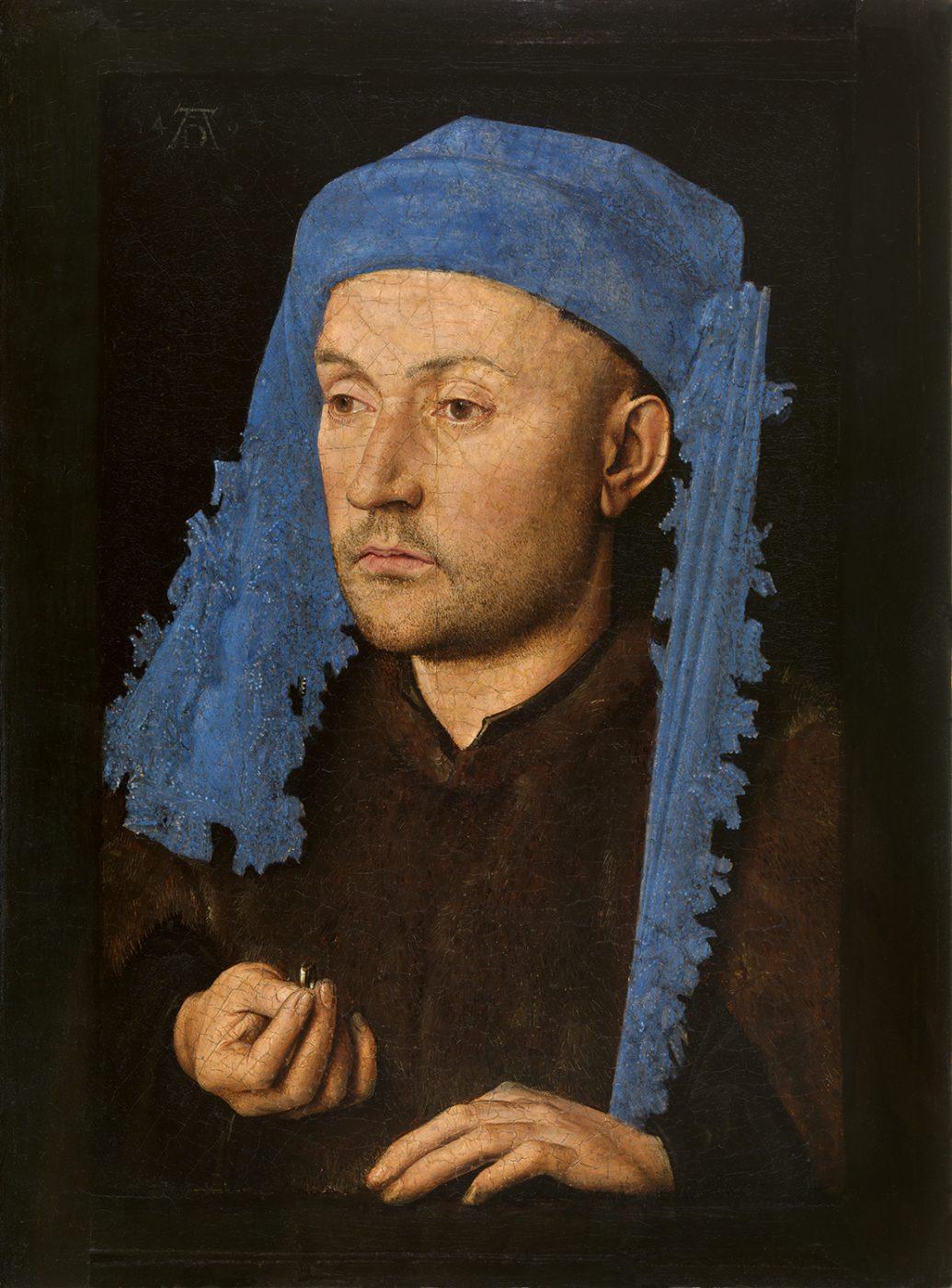 Jan van Eyck, Portret van een man met blauwe kaproen
