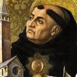 Thomas van Aquino altaarstuk van Carlo Crivelli (detail)